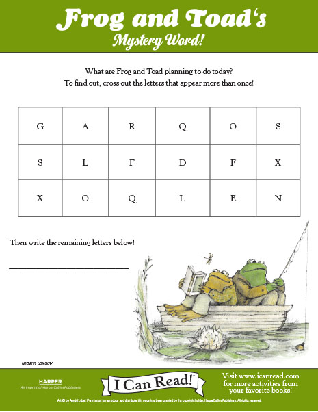 Printables Frog And Toad Worksheets frog and toad i can read books icanread com toads mystery word