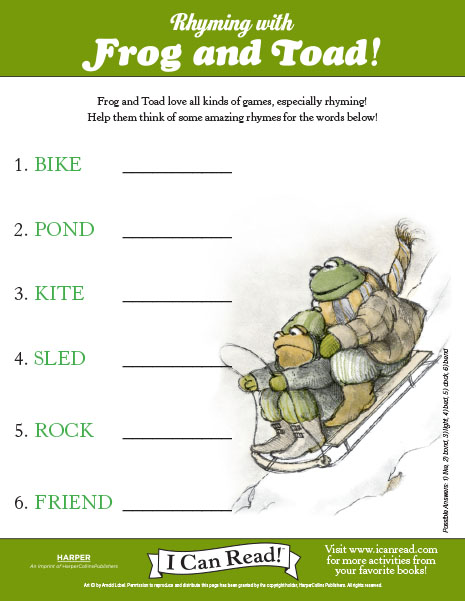 Rhyming with Frog and Toad