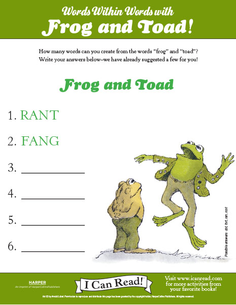 Words within Words with Frog and Toad